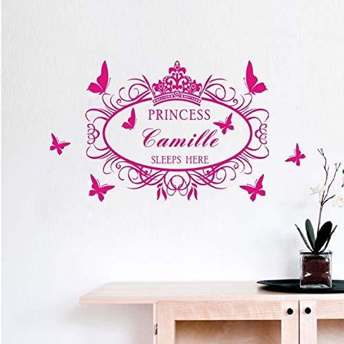 Modeganqingg Personalisierte Name Kunden Prinzessin Hier schlafen Mädchen Wall Decal Sticker Art Pink 60X45cm