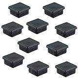 10 Stück - PE Rohrstopfen Fußkappen schwarz aus Kunststoff für Vierkantrohr | Formrohr-Stopfen quadratisch | Lamellenstopfen 40 x 40 mm | Möbelbeschläge von GedoTec®