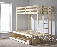 Triple sleeper bunk bed with trundle - 4ft 6 double Three sleeper bunkbed - Can be used by adults