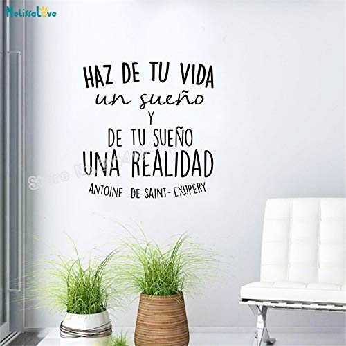 woyaofal Spanish Inspirational Positive Quotes Vinyl Wall Sticker Life Dreams for Spanish Home Decoration Self-Adhesive Art Murals 84x90cm