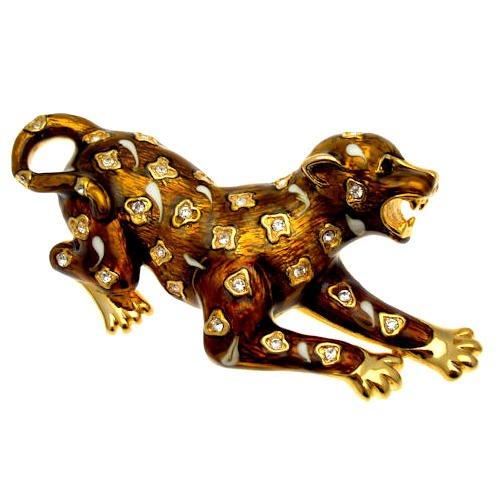 Acosta, colore marrone, stile Vintage, motivo: giaguaro-Spilla