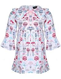 Tiramisu Unicorn Printed Full Sleeves Dress for Baby Girl