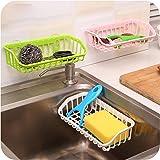 #5: Ruon Deals Kitchen Double Suction Cup Sink Shelf Soap Sponge Comb Hanging Shelving Plastic Assorted Color (21 * 11 * 5 Cm)