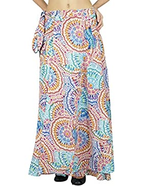 Una sola capa del algodón del vestido de la impresión floral falda del abrigo largo Tamaño Sari sarong