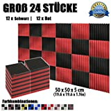 Super Dash (24 Stück) von 50 X 50 X 5 cm Schwarz & Rot Keil Akustikschaumstoff Noppenschaumstoff Akustik Dämmmatte Schallisolierung Schaumstoff Polster Fliesen SD1134 (SCHWARZ & ROT)