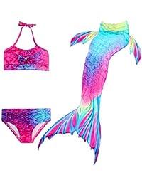 NMY Coda da Sirena per Nuotare Costumi da Bagno 3pcs Mermaid Insiemi del Bikini Cosplay Costume da Sirena Bambina