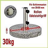 Schirmständer aus Granit, rund, 45cm, 30kg, Edelstahlgriff, Rollen