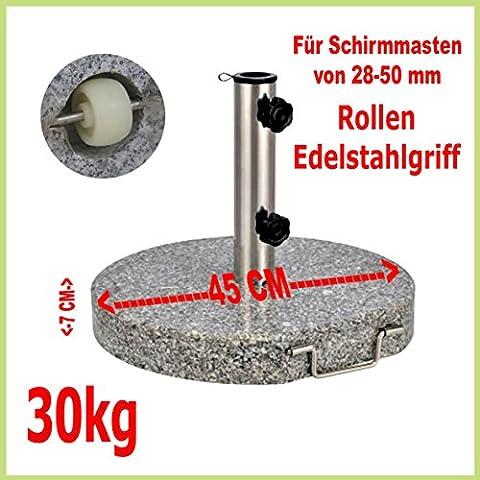 Schirmständer aus Granit, rund, 45cm, 30kg, Edelstahlgriff,