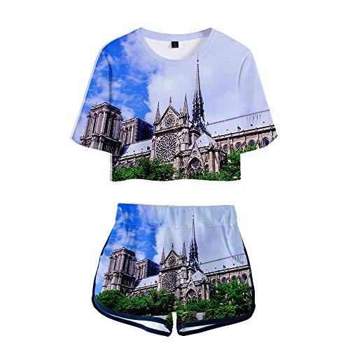 Damen Sommer 3D Print zum Gedenken an Notre Dame de Paris Kurzarm mit Shorts Anzug, schöne Nabel Rock,E,L