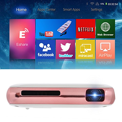 Best Price Yuancin 32GB Smart Mini Android Wireless Portable Projector -Features with 2.4G+5.8G Dual Wifi HDMI Input and Vertical Keystone Correction – Miracast and Airplay Function-Slim Wireless HD DLP Portable Pocket Cell Home Cinema Pico Projector