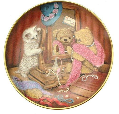 Franklin Mint Kompresse für Abendessen Sue Willis Teller Teddy Bär Teller Kätzchen Teller Franklin Teller