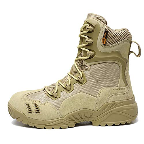 NDHSH Uomini Stivali Tattici Scarpe Stringate Stivali del Deserto Scarpe da Trekking Scarpe da Terra all-in-Stivali Scarpe da Ginnastica. Sneakers,Beige01-44