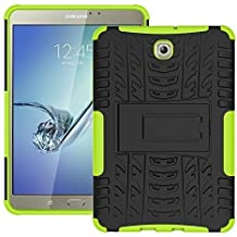 DWay Tab S2 8.0 Custodias T710 Armor Hybrid Design with Stand Feature Detachable Dual Layer Protective Shell Hard Tablet Back Custodias Cover per Samsung Galaxy Tab S2 8.0inches SM-T710 / T715 (Green)