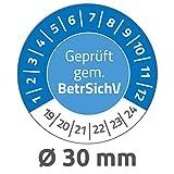 Avery Zweckform 6968 Prüfplaketten (80 Prüfaufkleber aus Vinyl, Geprüft gem. BetrSichV, 2019-2024, Ø 30 mm, im praktischen Block) blau
