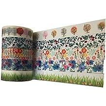 Botanical flores de impresión de color Cinta adhesiva–cada 10m largo–Ideal para manualidades, álbumes de recortes, tarjetas de cartulina, etc.