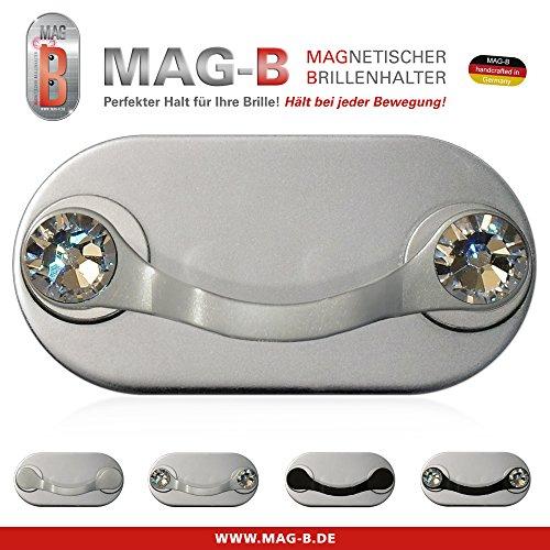 Preisvergleich Produktbild MAG-B magnetischer Brillenhalter (Edelstahl poliert mit original Swarovski Kristallen)