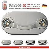 MAG-B soporte para gafas magnético (acero inoxidable pulido con cristales originales de Swarovski)