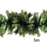 Xone Super Festone 500 CM | Boa di Natale in PVC | Decorazione Natalizia Verde per balconi, Scale, cancelli