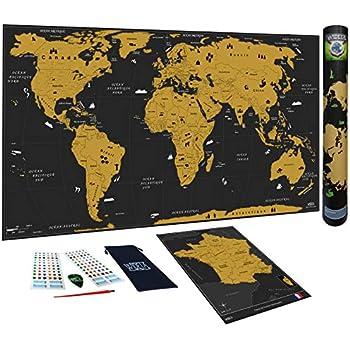 Anpro Carte du Monde /à Gratter XXL 82.5cm x 59.5cm Noir et Dor/é,Edition Premium avec Drapeaux de Tous Les Pays,Tube Cadeau et 46PCS Accessoires pour Voyageurs,Explorateurs,Collectionneurs