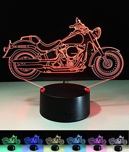 Art Deco Lampen, LED Nachtlampe der LED 3D Farbe die geführte Lichter, Kind-Raum Ausgangsdekoration-bestes Geschenk, Noten Kontroll Licht 7 Farben ändert USB angetriebene Schreibtisch Lampen (Motorrad)