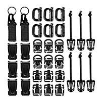 Tactical Gear Clip, bluesees 33 Pieces Tactical Bag Clip Strap Set for Tactical Backpack Molle Bag,D-Ring Locking,Web Dominator Elastic String &Buckles,MOD Straps,Key Ring Holders