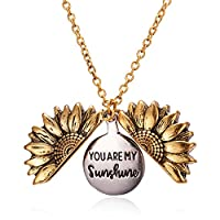 You are My Sunshine Engraved Necklace Sunflower Locket Necklace