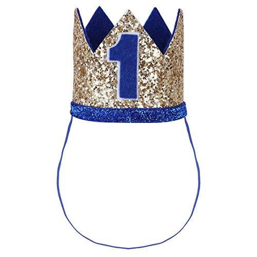 Tiaobug 1. Geburtstag Party Kronen mit Zahlen Baby Junge Mädchen 1 jahr Party Kopfschmuck Hut Prinzessin Prinz Kronen Dekoration Zubehör Accessoires für Fotoshooting Gold&Blau 1 One Size