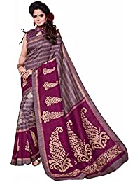 Novus Knitting Striped Purple Printed Mysore Jute, Cotton Linen Blend Uniform Saree With Blouse(4350)