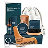 Beard Grooming Kit for Men with Beard Balm, Beard Oil, Beard Brush, Beard Comb, Shaping Tool, Beard Scissors, Luxury Gift Box, Canvas Travel Bag - Perfect Gifts for Him