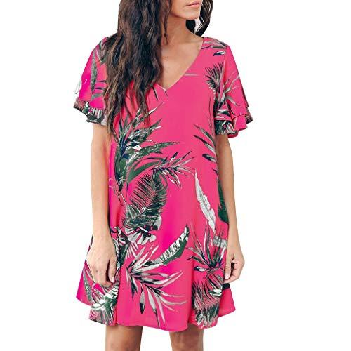 Lucky Mall Damen Mode Blatt Drucken Kurzarm V-Ausschnitt Minikleid, Sommer Strandrock Frauen Lässiges Kleid Abendkleid Partykleid Bequemes Loses Kleid (Lose Blatt Kostüm)