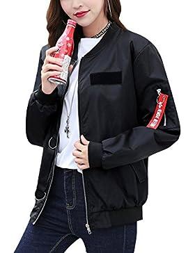 Casuales Cremallera Vendimia Bombers Chaqueta De Sport Abrigo Para Mujer