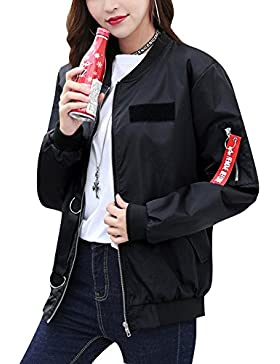 Lenfesh De las Oto/ño Invierno Abrigo largo de Mujer Ligero dei Parka de bolsillos impermeable