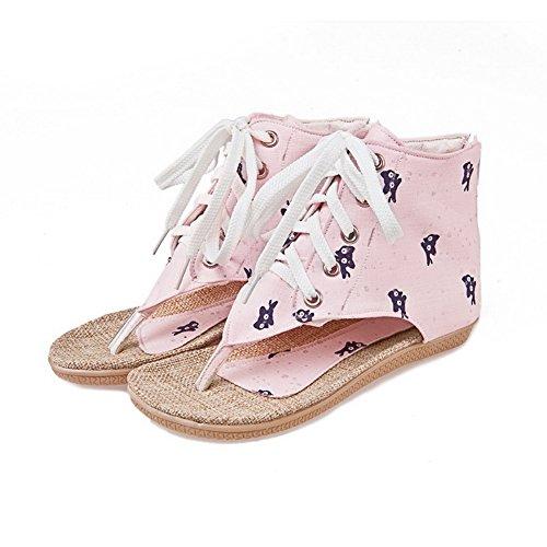 AllhqFashion Damen Getrennt Zehe Weiches Material Tier Stoffdruck Zehentrenner Sandalen Pink