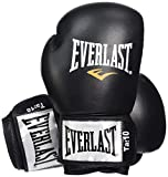 Everlast Fighter Leather Boxing Training Gloves - 16oz, Black/Red