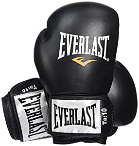 Everlast Fighter Leather Boxing Training Gloves - 8oz, Black/Red