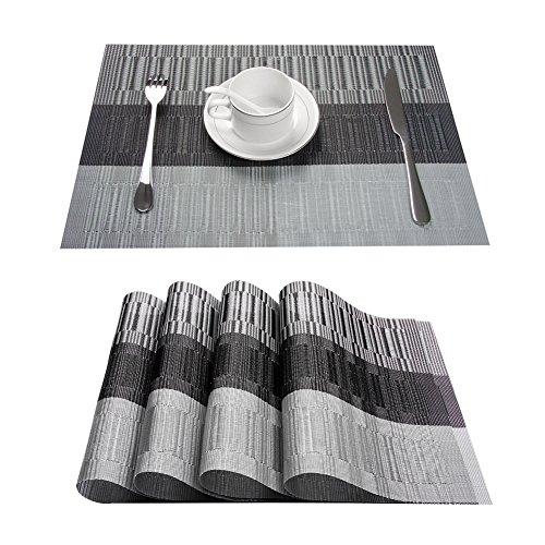 Topfinel Platzsets Abwischbar 4er Tischsets Abwaschbar Abgrifffeste Hitzebeständig Platzmatten mit Bambus-Optik für Küche mit Kontrastfarbe Grau und Schwarz 30x45