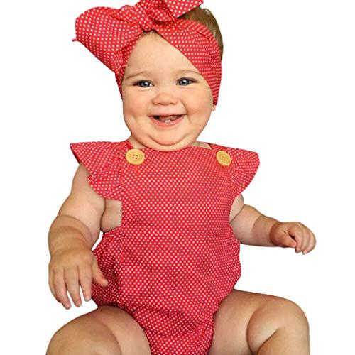 ❤❤JiaMeng Baby Body Mädchen Outfits Kleidung Dot Rüschen Strampler Body + Stirnband Set Polka Dot Heißprägen Baby Mädchen Kleidung Prinzessin Sommer Party Spielanzug Strampler Bodys Einteiler(3M-24M) (Baby Mädchen Polka Dot Stirnband)