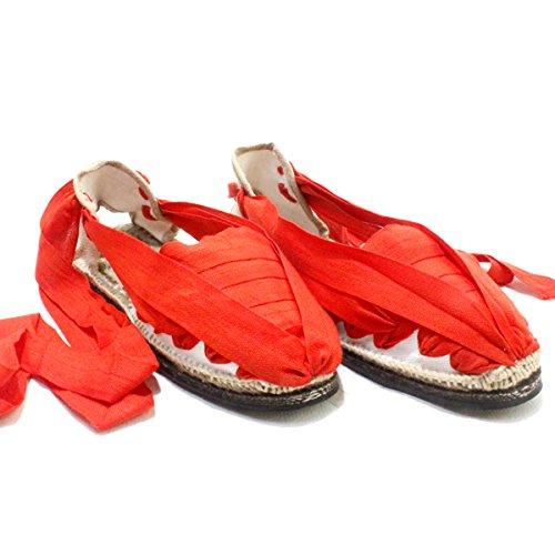 Leinenschuhe Spieß rote Betas mit Sohle aus Gummi–caixetes Set Vetes Vermelles AMB Sola aus Gummi Rot