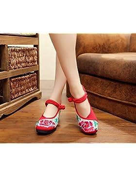 &QQ Zapatos bordados, lino, lenguado, estilo étnico, zapatos femeninos, moda, cómodo, pendiente Aumentado , red...