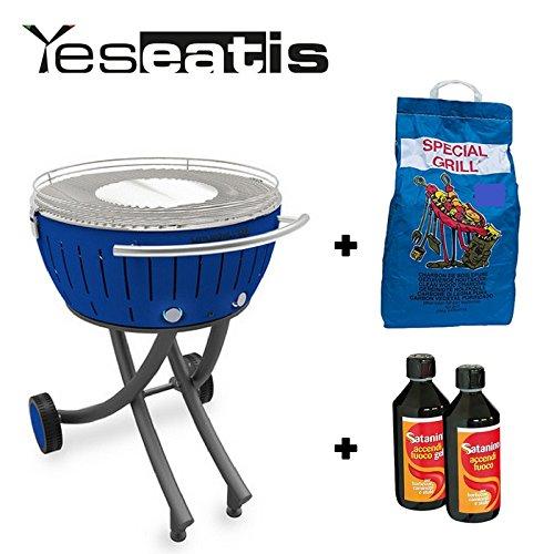 Lotusgrill XXL mit Raeder - Starter Kit BBQ mit 2Kg Carbobois Holzkohle und 500ml Feueranzuender Gel Satanino - Blau