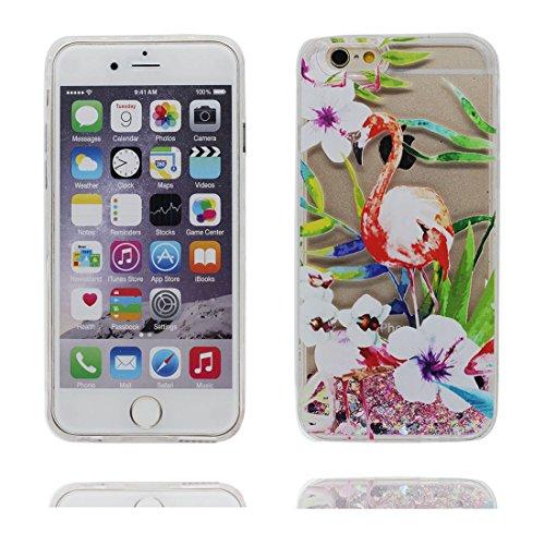 "iPhone 6 Plus Coque, iPhone 6s Plus étui Cover 5.5"", Bling Bling Glitter Fluide Liquide Sparkles, iPhone 6 Plus Case 5.5"", Shell anti- chocs Grand Flamant # 3"