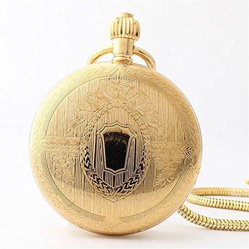 Mens pocket watch orologio da tasca meccanico retrò tutto in rame placcato oro classico orologio da taschino con catena in arabia regalo, ringraziamento, festa del papà