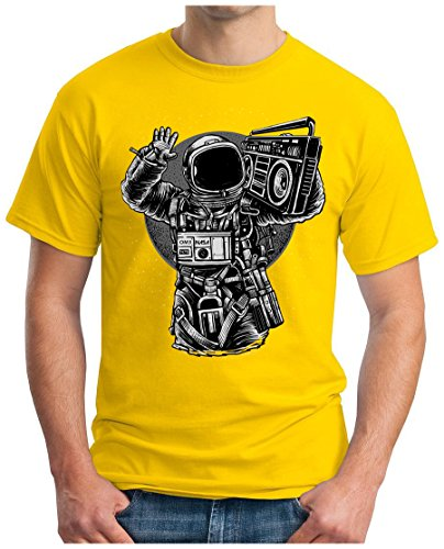 OM3 - ASTRONAUT-MUSIC - T-Shirt MOON SPACE GHETTOBLASTER POP ROCK PUNK HipHop FUN, S - 5XL Gelb