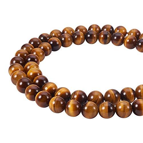 PandaHall Elite Grade AAA natürliche Tigerauge Perlen Stränge für Schmuckherstellung (1 Stränge), rund, 8 mm, Bohrung: 1 mm; etwa 15,7 Zoll lang
