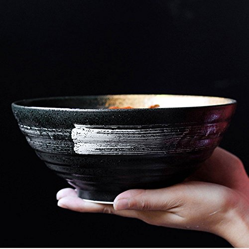 Zuppa di Ceramica in Stile Giapponese, tagliatelle, Pasta, Ciotola, Retro, Insalata di Frutta, Ramen, Piatto, Ciotole, Forno, microonde, Sicuro, miscelazione, servire, Ciotole, 7,5 Pollici, Nero