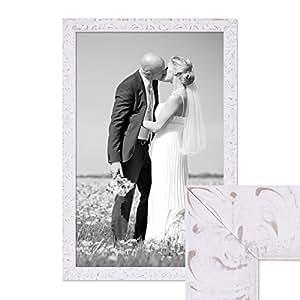 Cadre photo 40 x 50 cm blanc vieilli en bois massif avec vitre en verre et accessoires/cadre de finition antique/nostalgierahmen