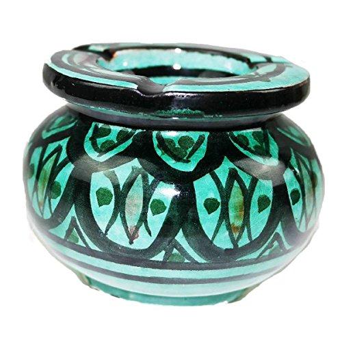 Simandra Marokkanischer Sturmaschenbecher Aschenbecher Keramik Windascher Ascher Orient Deko Color Grün -