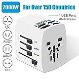 Adaptateur de Voyage Universel 4 Ports USB 3.0, Adaptateur Secteur International 2000 W, Adaptateur de Chargeur Tout-en-Un pour UE/USA/UK/UA/Australie, Plus de 150 Pays