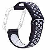 #9: J Small Bracelet Wristband , Soft Silicone Rubber Wrist Band Strap Belt for Fitbit Blaze Sport Watch Black White (Small 6.2-7.6)