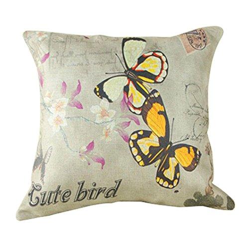 Luxbon Fiori Farfalle Gialle Federa per Cuscino in Contone Lino Copricuscino Decorativo per Casa Divano Sedia Stanza Letto 45 x 45 cm